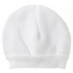 Bonnet maille blanc naissance