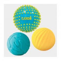 3 balles sensorielles bleues